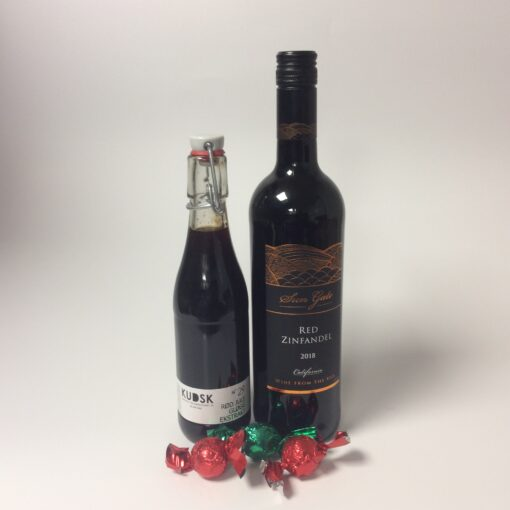 gavepose med vin og gløgg
